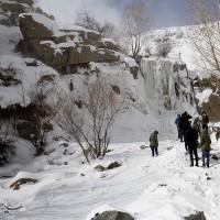 یخ زدگی آبشار گنجنامه همدان   عکس